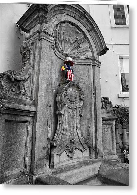 American Independance Photographs Greeting Cards - Manneken Pis Fountain Greeting Card by Georgia Fowler