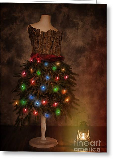 Mannequin Dressed For Christmas Greeting Card by Amanda Elwell