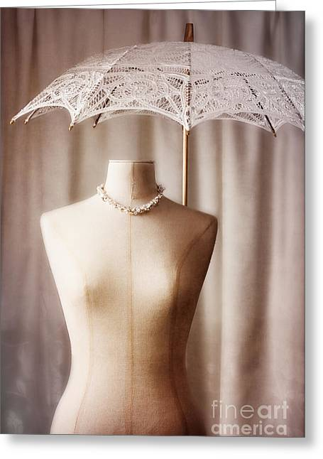 Mannequin With Parasol Greeting Card by Amanda Elwell