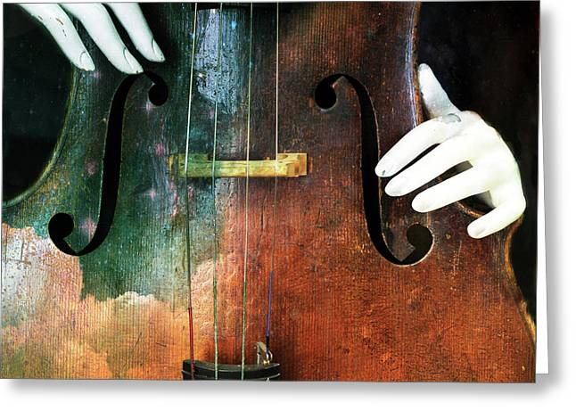 Manniquin On Cello  Greeting Card by Steven Digman