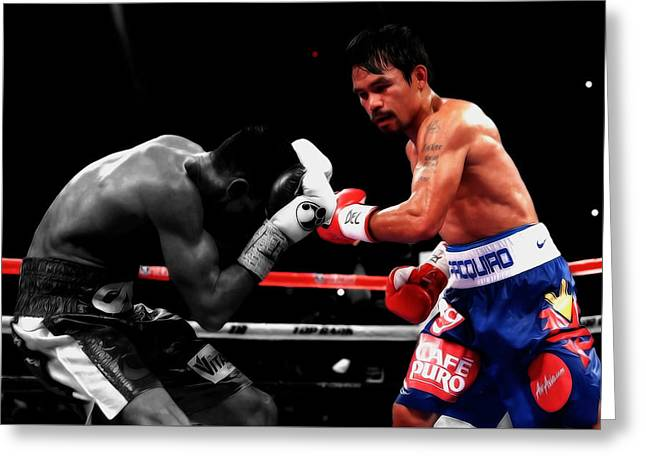 Manny Pacquiao And Chris Algieri Greeting Card by Brian Reaves