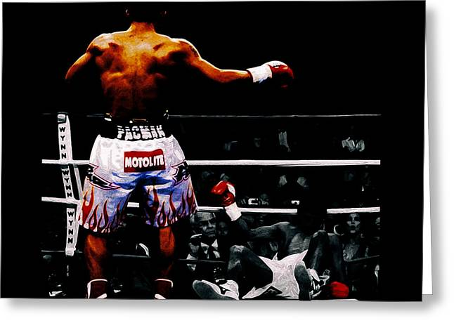 Manny Pacquiao And Erik Morales Greeting Card by Brian Reaves