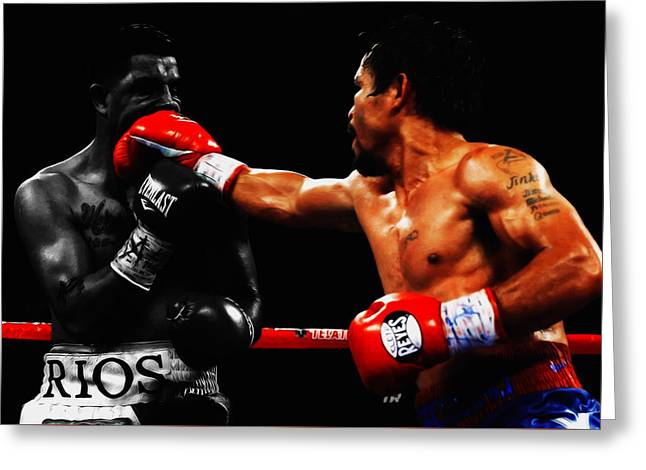 Manny Pacquiao Making Contact Greeting Card by Brian Reaves