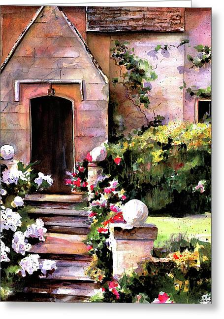 Greeting Card featuring the painting Manor House by Marti Green