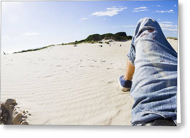 Man's Legs In Jeans On Sandy Beach Greeting Card by Jorgo Photography - Wall Art Gallery