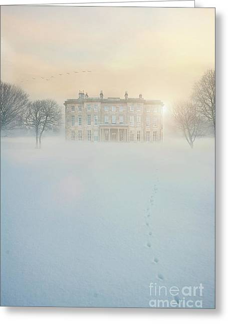 Mansion House In Snow Greeting Card by Lee Avison