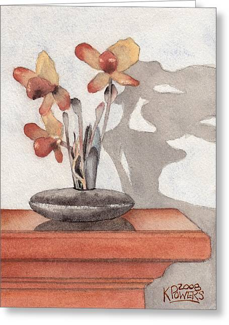 Mantel Flowers Greeting Card by Ken Powers
