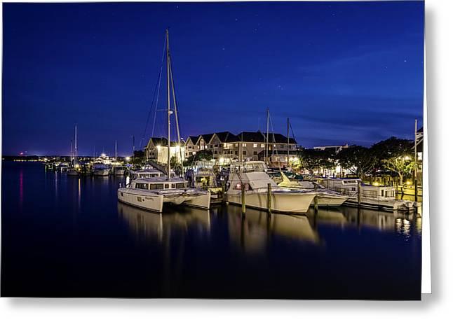 Manteo Waterfront Marina At Night Greeting Card