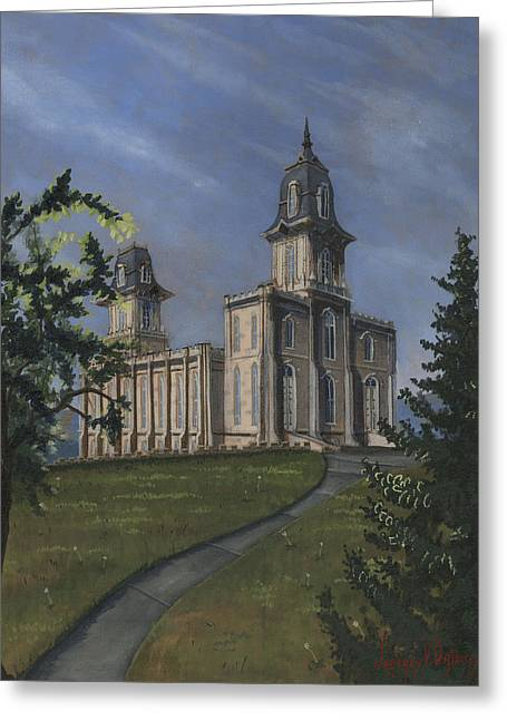 Manti Temple East Doors Greeting Card by Jeff Brimley