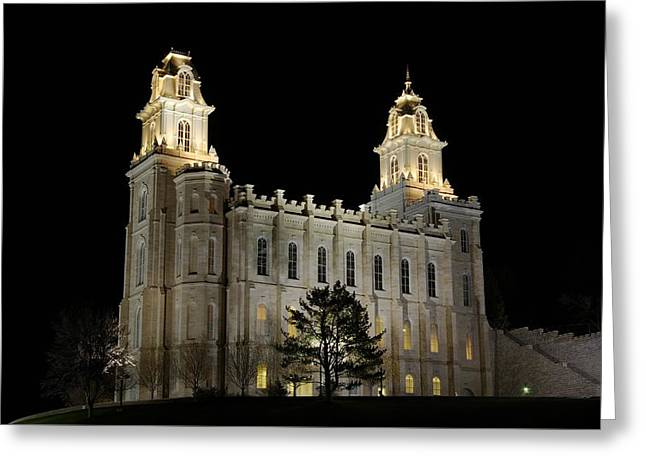 Manti Temple Night Greeting Card by David Andersen