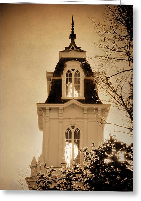 Utah Temple Photography Greeting Cards - Manti Temple Spire Texture Greeting Card by La Rae  Roberts
