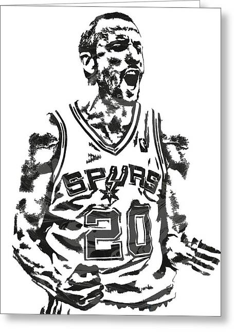 Manu Ginobili San Antonio Spurs Pixel Art 4 Greeting Card
