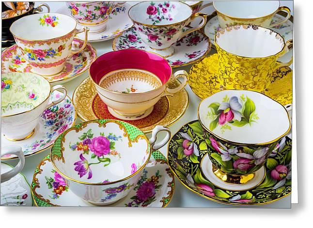 Many Beautiful Tea Cups Greeting Card