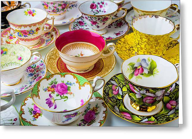 Many Beautiful Tea Cups Greeting Card by Garry Gay