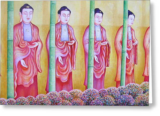 Many Budhas Greeting Card by Hiske Tas Bain