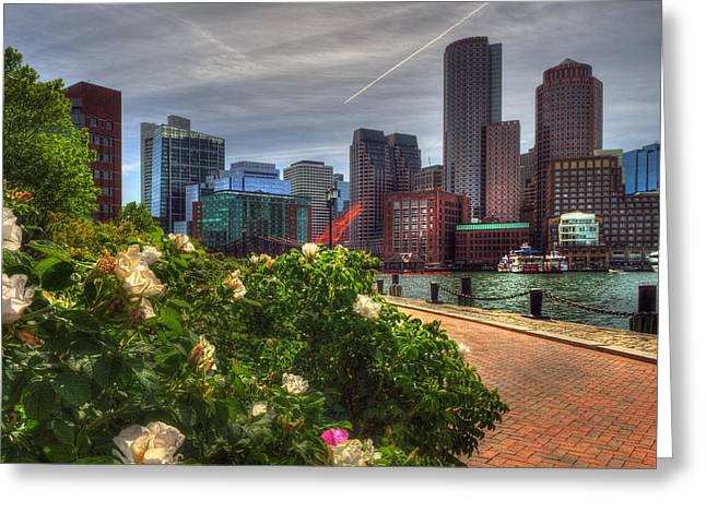 Many Faces Of The Boston Skyline Greeting Card by Joann Vitali