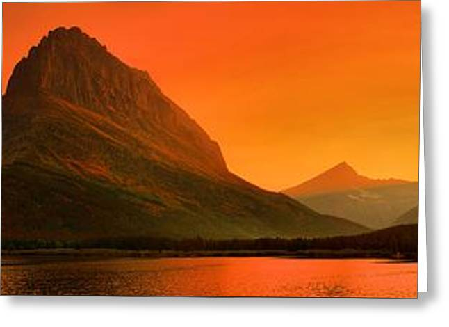 Many Glacier Sunset Spectacular Greeting Card by Adam Jewell
