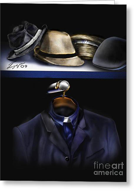 Many Hats One Collar Greeting Card by Reggie Duffie