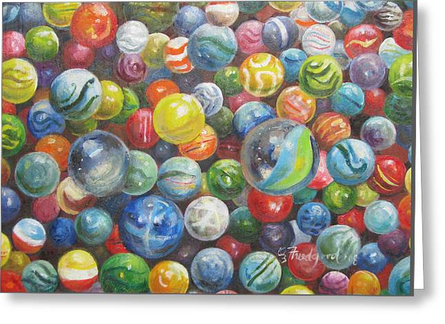Greeting Card featuring the painting Many Marbles by Oz Freedgood
