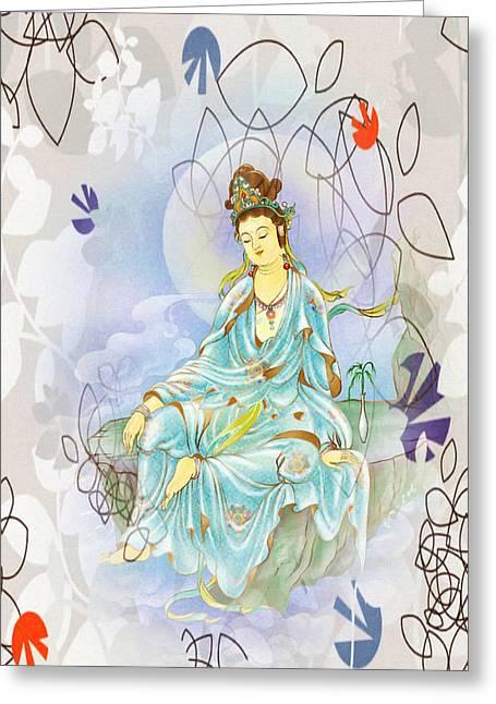 Many Treasures Kuan Yin Greeting Card by Lanjee Chee
