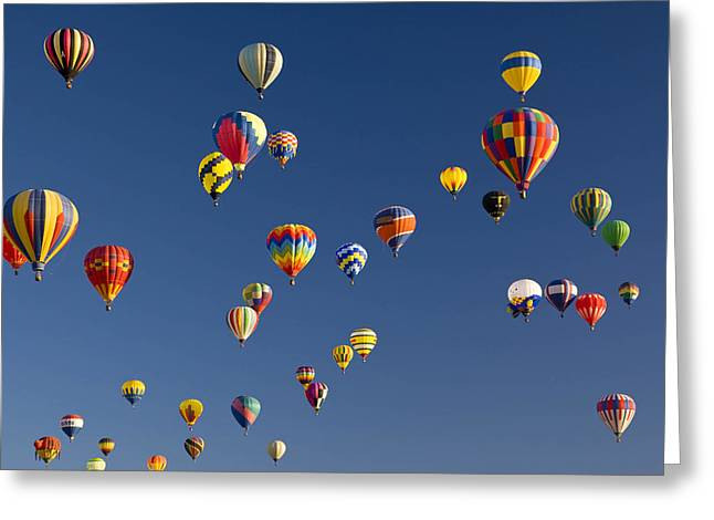 Albuquerque Greeting Cards - Many Vividly Colored Hot Air Balloons Greeting Card by Ralph Lee Hopkins