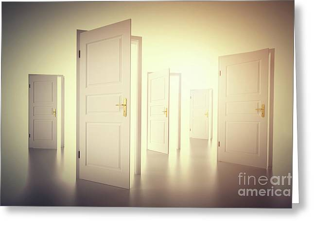 Many Ways To Choose From, Open Doors. Decision Making Greeting Card by Michal Bednarek