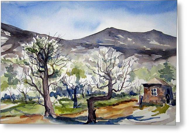 Greeting Card featuring the painting Manzanar Orchard by Pat Crowther