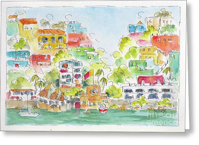 Greeting Card featuring the painting Manzanillo Coastline by Pat Katz