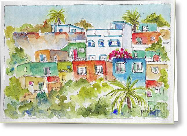 Greeting Card featuring the painting Manzanillo Hillside by Pat Katz
