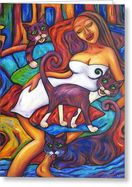 Maori Girl And Three Cats Greeting Card by Dianne  Connolly