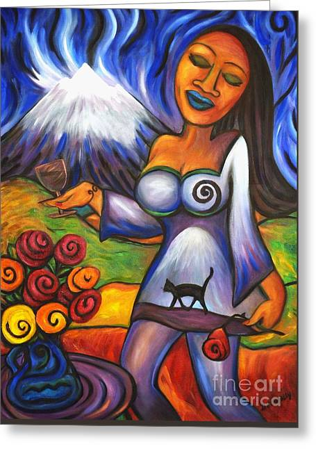 Greeting Card featuring the painting Maori Girl Roses And Cat by Dianne  Connolly