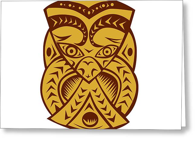 Maori Mask Woodcut Greeting Card by Aloysius Patrimonio