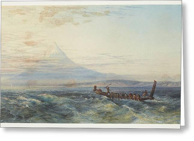 Maori War Canoe Approaching Taranaki, 1879, By Nicholas Chevalier. Greeting Card