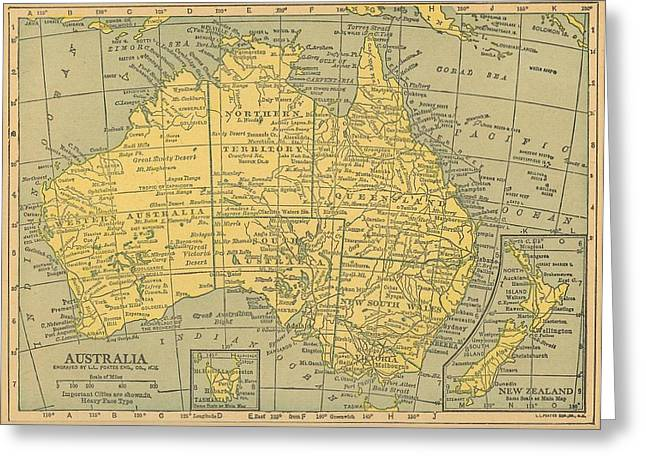 Greeting Card featuring the drawing Map Australia by Digital Art Cafe
