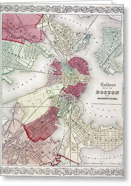 1865 Greeting Cards - Map: Boston, 1865 Greeting Card by Granger