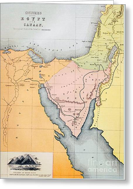 Map Depicting The Countries Between Egypt And Canaan Greeting Card by English School