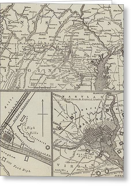 Map Illustrating General Lee's Advance Into Pennsylvania  Greeting Card