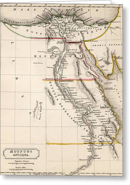 Map Of Aegyptus Antiqua Greeting Card by Sydney Hall