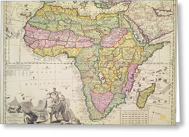 Border Drawings Greeting Cards - Map of Africa Greeting Card by Pieter Schenk