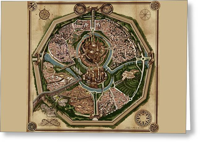 Map Of Ancient City Of Drith Greeting Card by James Christopher Hill