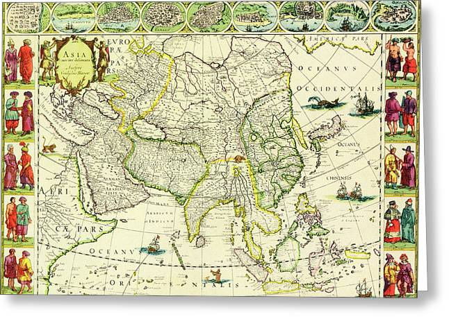 Map Of Asia From 1632 Greeting Card by J Blaeu