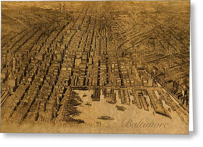 Map Of Baltimore Maryland Vintage Old Circa 1912 On Worn Distressed Canvas Greeting Card
