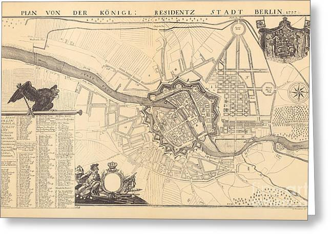 Map Of Berlin, 1737 Greeting Card