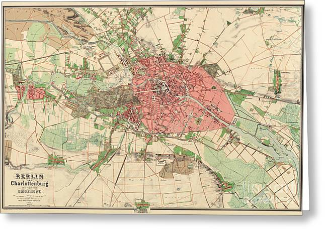 Map Of Berlin, 1857 Greeting Card