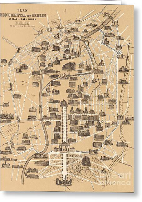 Map Of Berlin, 1860 Greeting Card