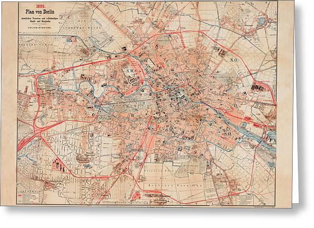 Map Of Berlin 1895 Greeting Card by Andrew Fare