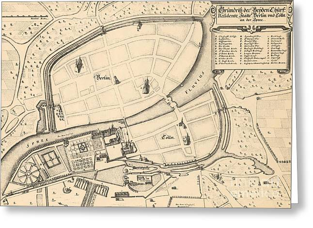 Map Of Berlin And Coelln, 1652 Greeting Card