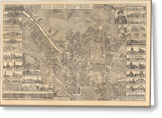 Map Of Berlin Showing Buildings Of Interest, 1773 Greeting Card