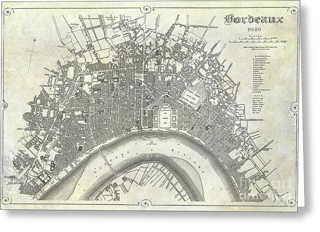 Map Of Bordeaux Circa 1840 Greeting Card