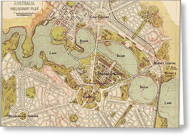 Map Of Canberra 1913 Greeting Card by Andrew Fare